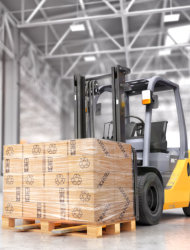 Forklift with boxes